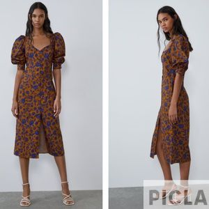Zara leopard printed poplin dress